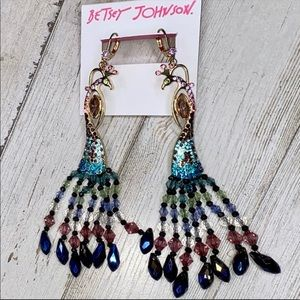 Betsey Johnson Beaded Dangling Peacock Earrings